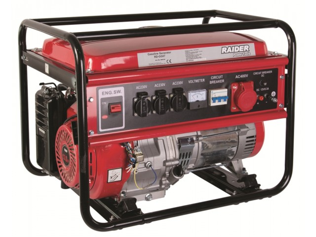RAIDER 090104 - ГЕНЕРАТОР ЗА ТОК БЕНЗИНОВ, ТРИФАЗЕН, 5kW 230V & 380V RD-GG07