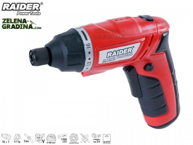 RAIDER 031106 - Акумулаторна отвертка RAIDER RDP-CSCL01, Li-Ion, 1300mАh, Напрежение: 3.6V