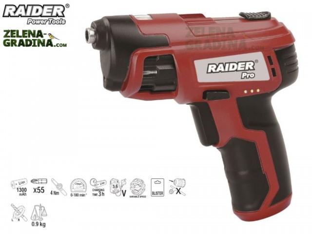 RAIDER 031107 - Акумулаторна револверна отвертка RAIDER  RDP-CSCL02, Li-Ion, 1300mАh, Напрежение: 3.6V, 56 бита