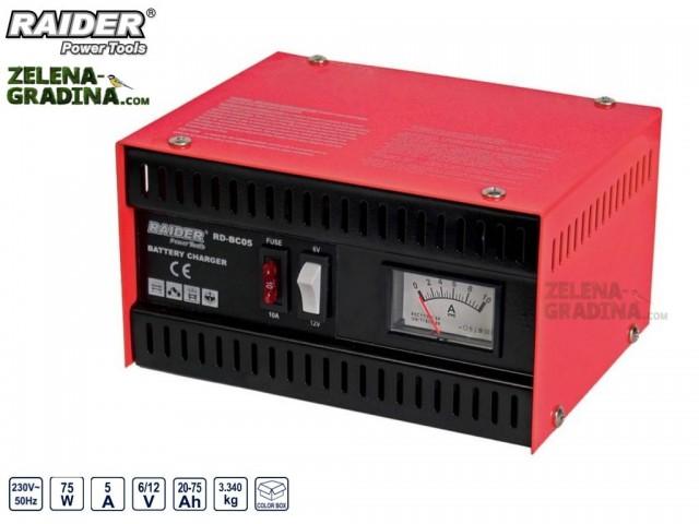 RAIDER 032201 - Зарядно за акумулатор за 6/12V RAIDER RD-BC05, Големина на тока: 5 A