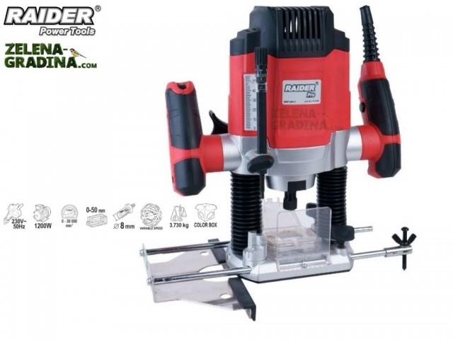 RAIDER 051108 - Оберфреза RAIDER RDP-ER13, Мощност: 1200W, Регулируеми обороти: 0 - 30 000 min-1, Ход на фрезоващата глава: 0-50 mm