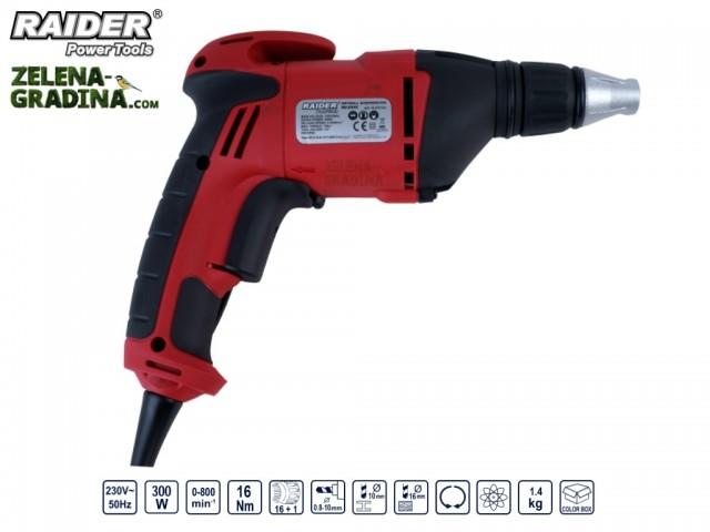 RAIDER 073101 - Електрически кабелен винтоверт за гипсокартон RAIDER RD-ES46, Мощност: 520W