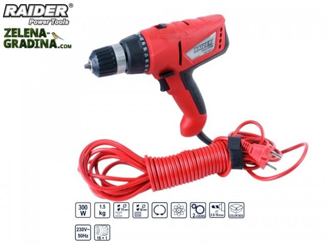 RAIDER 073104 - Електрически кабелен винтоверт RAIDER RD-CDD03, 2 скорости, Мощност: 300W