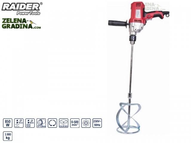 RAIDER 078503 - Миксер за строителни разтвори RAIDER RD-HM05 с патронник и бъркалка, Мощност: 850W, Регулируеми обороти: 0-500 min-1