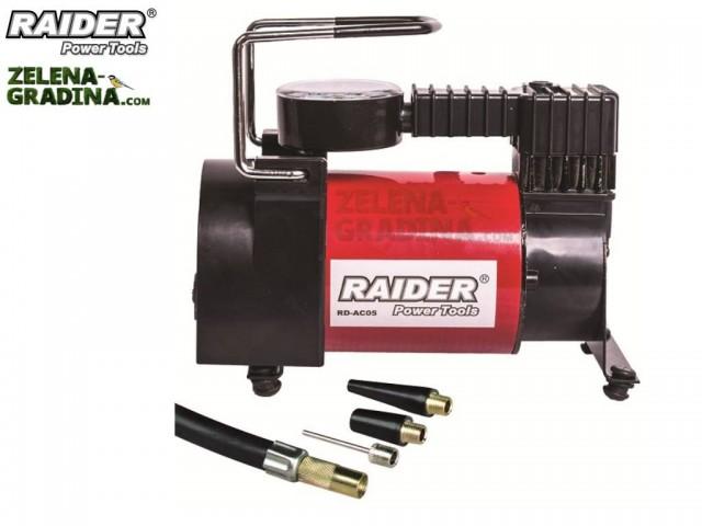 RAIDER 089402 - Мини компресор на 12V + аксесоари RAIDER RD-AC05, Максимално налягане: 0,96Pa, Дебит на въздуха: 35 l/m