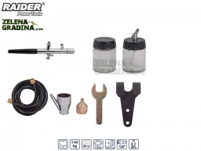 RAIDER 089935 - Аерограф двойнодействащ RAIDER RD-AB01, 8 части, Диаметър на дюзата: Ф 0.2 mm, Работно налягане: 0,2 Mpa