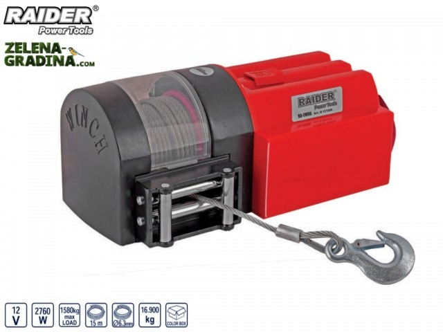 RAIDER 121606 - Автомобилна лебедка на 12V RAIDER RD-EW06, Максимален товар: 1580 kg, Дължина на въжето: 15 m