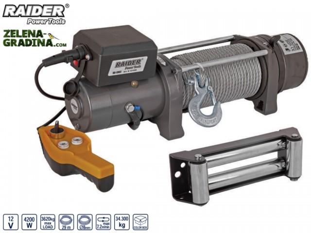 RAIDER 121608 - Автомобилна лебедка на 12V RAIDER RD-EW07, Максимален товар: 3628 kg, Дължина на въжето: 29 m