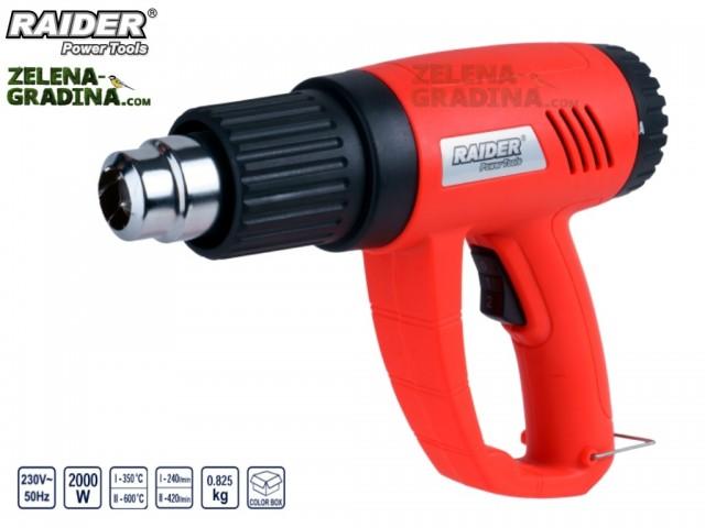 RAIDER 122101 - Пистолет за горещ въздух RAIDER RD-HG07, 2 степени на регулация, Мощност: 2000 W, С куфар