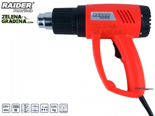 RAIDER 122105 - Пистолет за горещ въздух RAIDER RD-HG12, 2 степени на регулация, Мощност: 2000 W